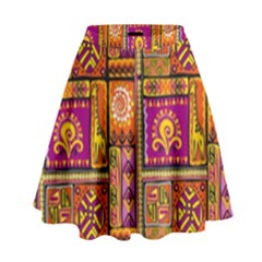 Traditional Africa Border Wallpaper Pattern Colored 3 High Waist Skirt by EDDArt