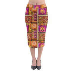 Traditional Africa Border Wallpaper Pattern Colored 3 Midi Pencil Skirt by EDDArt