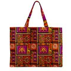 Traditional Africa Border Wallpaper Pattern Colored 3 Zipper Medium Tote Bag by EDDArt