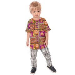 Traditional Africa Border Wallpaper Pattern Colored 3 Kids Raglan Tee by EDDArt