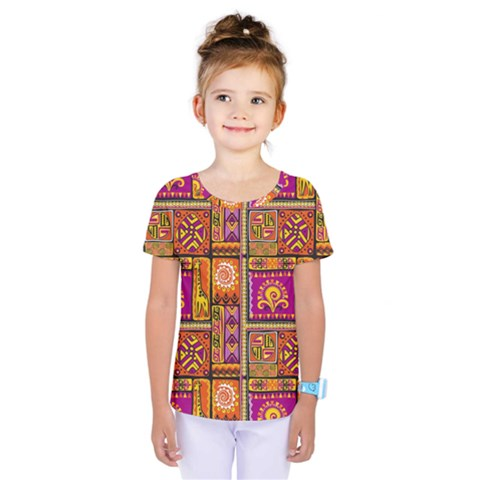 Traditional Africa Border Wallpaper Pattern Colored 3 Kids  One Piece Tee by EDDArt