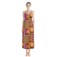 Traditional Africa Border Wallpaper Pattern Colored 3 Button Up Chiffon Maxi Dress by EDDArt