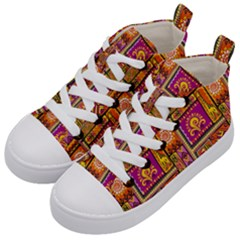 Traditional Africa Border Wallpaper Pattern Colored 3 Kid s Mid Top Canvas Sneakers by EDDArt