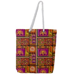 Traditional Africa Border Wallpaper Pattern Colored 3 Full Print Rope Handle Tote (large) by EDDArt