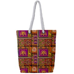 Traditional Africa Border Wallpaper Pattern Colored 3 Full Print Rope Handle Tote (small) by EDDArt
