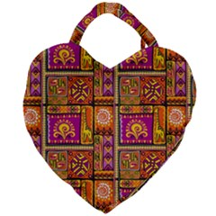 Traditional Africa Border Wallpaper Pattern Colored 3 Giant Heart Shaped Tote