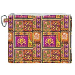 Traditional Africa Border Wallpaper Pattern Colored 3 Canvas Cosmetic Bag (xxl) by EDDArt