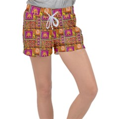 Traditional Africa Border Wallpaper Pattern Colored 3 Women s Velour Lounge Shorts