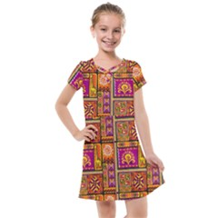 Traditional Africa Border Wallpaper Pattern Colored 3 Kids  Cross Web Dress by EDDArt