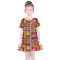Traditional Africa Border Wallpaper Pattern Colored 3 Kids  Simple Cotton Dress by EDDArt