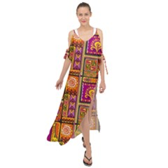 Traditional Africa Border Wallpaper Pattern Colored 3 Maxi Chiffon Cover Up Dress