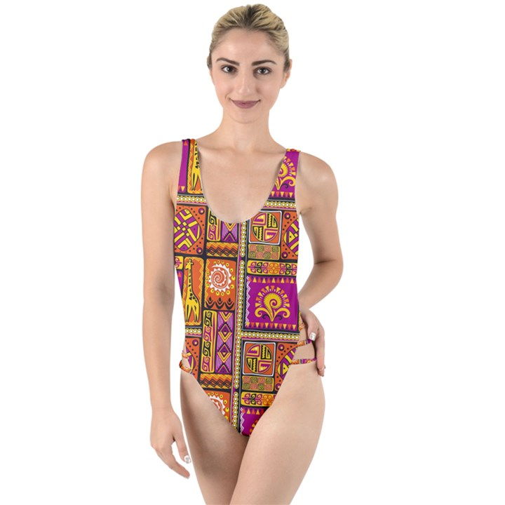 Traditional Africa Border Wallpaper Pattern Colored 3 High Leg Strappy Swimsuit