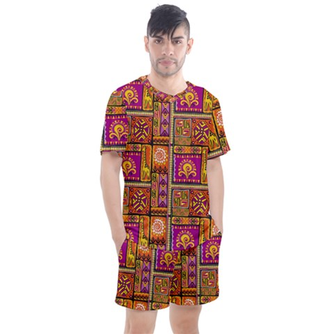 Traditional Africa Border Wallpaper Pattern Colored 3 Men s Mesh Tee And Shorts Set by EDDArt