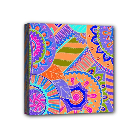 Pop Art Paisley Flowers Ornaments Multicolored 3 Mini Canvas 4  X 4  by EDDArt