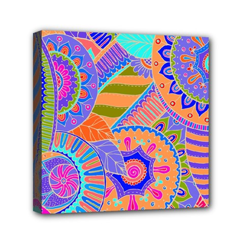Pop Art Paisley Flowers Ornaments Multicolored 3 Mini Canvas 6  X 6  by EDDArt