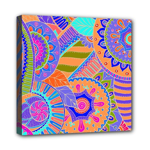 Pop Art Paisley Flowers Ornaments Multicolored 3 Mini Canvas 8  X 8  by EDDArt
