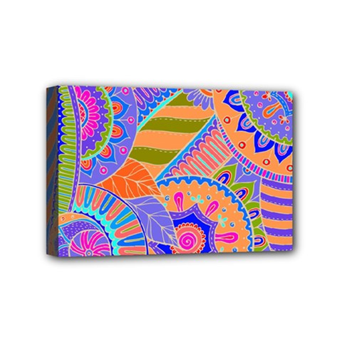 Pop Art Paisley Flowers Ornaments Multicolored 3 Mini Canvas 6  X 4  by EDDArt