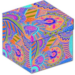 Pop Art Paisley Flowers Ornaments Multicolored 3 Storage Stool 12   by EDDArt
