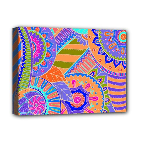 Pop Art Paisley Flowers Ornaments Multicolored 3 Deluxe Canvas 16  X 12   by EDDArt