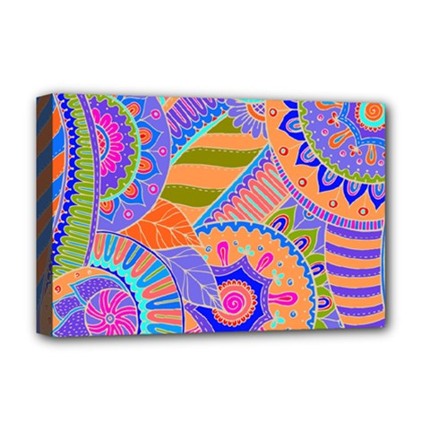 Pop Art Paisley Flowers Ornaments Multicolored 3 Deluxe Canvas 18  X 12   by EDDArt