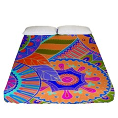Pop Art Paisley Flowers Ornaments Multicolored 3 Fitted Sheet (queen Size)