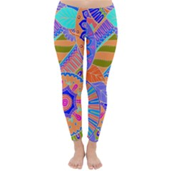Pop Art Paisley Flowers Ornaments Multicolored 3 Classic Winter Leggings by EDDArt