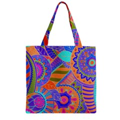 Pop Art Paisley Flowers Ornaments Multicolored 3 Zipper Grocery Tote Bag by EDDArt