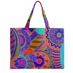 Pop Art Paisley Flowers Ornaments Multicolored 3 Zipper Mini Tote Bag