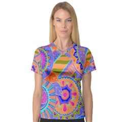 Pop Art Paisley Flowers Ornaments Multicolored 3 V Neck Sport Mesh Tee by EDDArt