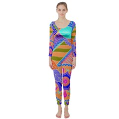 Pop Art Paisley Flowers Ornaments Multicolored 3 Long Sleeve Catsuit by EDDArt