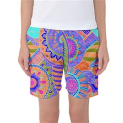 Pop Art Paisley Flowers Ornaments Multicolored 3 Women s Basketball Shorts by EDDArt