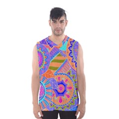 Pop Art Paisley Flowers Ornaments Multicolored 3 Men s Basketball Tank Top