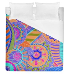 Pop Art Paisley Flowers Ornaments Multicolored 3 Duvet Cover (queen Size) by EDDArt
