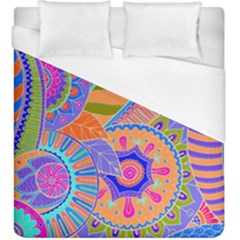 Pop Art Paisley Flowers Ornaments Multicolored 3 Duvet Cover (king Size) by EDDArt