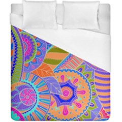 Pop Art Paisley Flowers Ornaments Multicolored 3 Duvet Cover (california King Size) by EDDArt