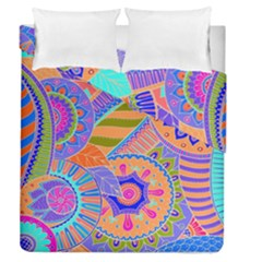 Pop Art Paisley Flowers Ornaments Multicolored 3 Duvet Cover Double Side (queen Size) by EDDArt