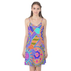 Pop Art Paisley Flowers Ornaments Multicolored 3 Camis Nightgown by EDDArt