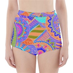 Pop Art Paisley Flowers Ornaments Multicolored 3 High-waisted Bikini Bottoms by EDDArt