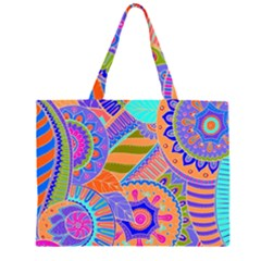 Pop Art Paisley Flowers Ornaments Multicolored 3 Zipper Large Tote Bag by EDDArt