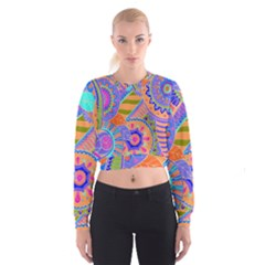 Pop Art Paisley Flowers Ornaments Multicolored 3 Cropped Sweatshirt