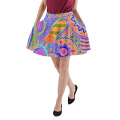 Pop Art Paisley Flowers Ornaments Multicolored 3 A Line Pocket Skirt