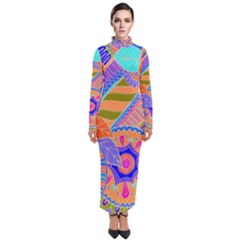 Pop Art Paisley Flowers Ornaments Multicolored 3 Turtleneck Maxi Dress
