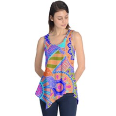 Pop Art Paisley Flowers Ornaments Multicolored 3 Sleeveless Tunic
