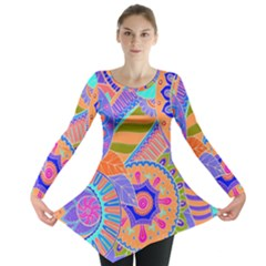 Pop Art Paisley Flowers Ornaments Multicolored 3 Long Sleeve Tunic