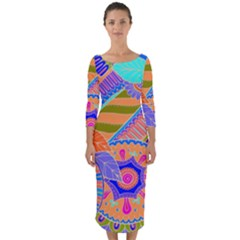 Pop Art Paisley Flowers Ornaments Multicolored 3 Quarter Sleeve Midi Bodycon Dress by EDDArt