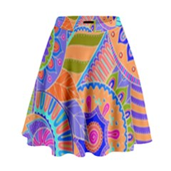 Pop Art Paisley Flowers Ornaments Multicolored 3 High Waist Skirt