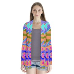 Pop Art Paisley Flowers Ornaments Multicolored 3 Drape Collar Cardigan