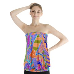Pop Art Paisley Flowers Ornaments Multicolored 3 Strapless Top by EDDArt