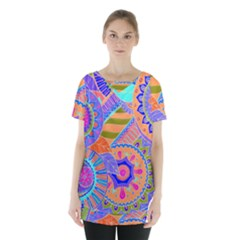 Pop Art Paisley Flowers Ornaments Multicolored 3 Skirt Hem Sports Top by EDDArt