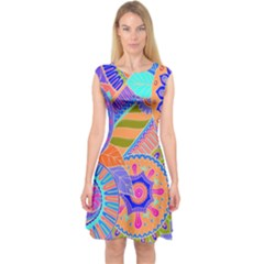 Pop Art Paisley Flowers Ornaments Multicolored 3 Capsleeve Midi Dress